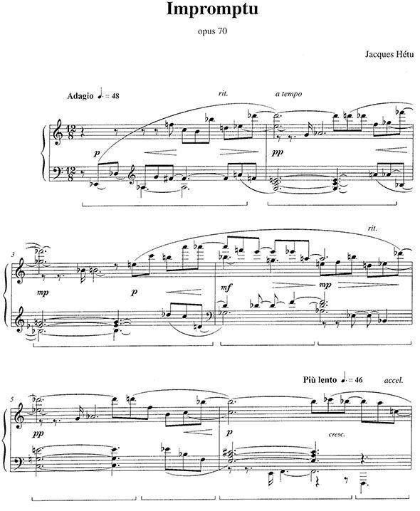 Jacques Hetu Variations And Impromptu Piano Sheet Music