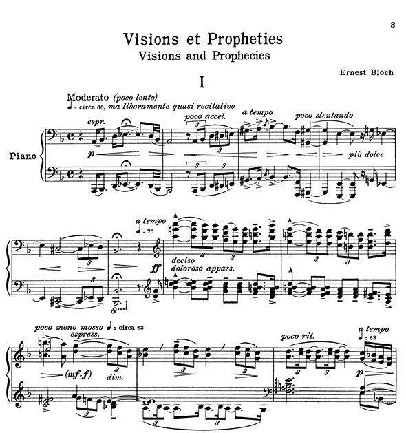 Ernest Bloch Piano Sonata Sheet Music
