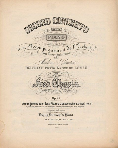 Chopin Concerto for piano and orchestra Op.21 Leipzig Breitkopf Härtel 1872 Edition