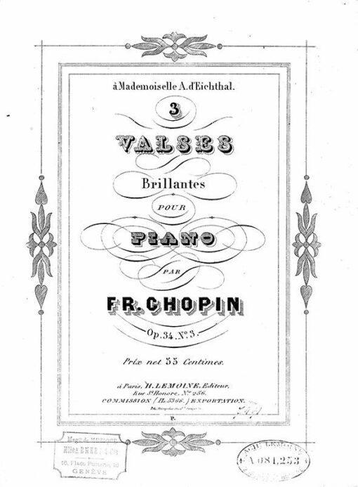 Chopin Three Waltzes Op.34 Paris H. Lemoine