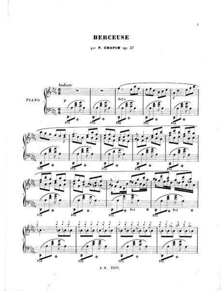 Chopin Berceuse Op.57 Paris Meissonnier 1845 Edition
